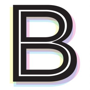 Capital letter B with coloured shadows